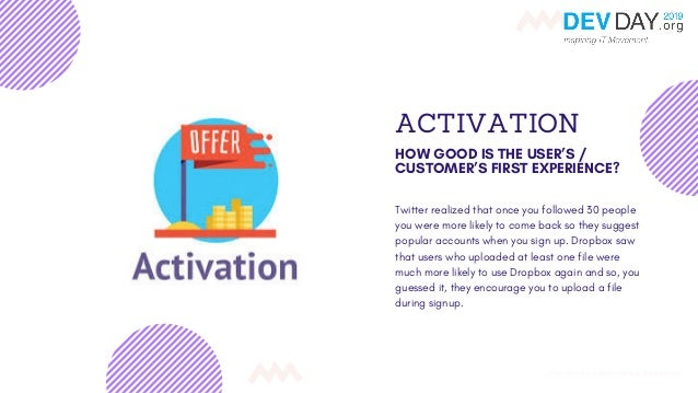ACTIVATION HOW GOOD IS THE USER'S / CUSTOMER'S FIRST EXPERIENCE? Twitter realized that once you followed 30 people you wer...
