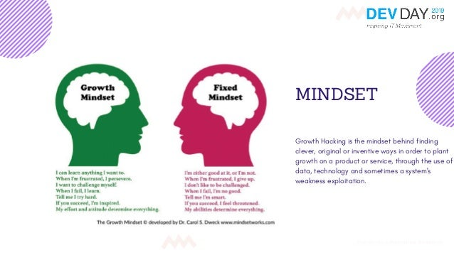 MINDSET Growth Hacking is the mindset behind finding clever, original or inventive ways in order to plant growth on a prod...