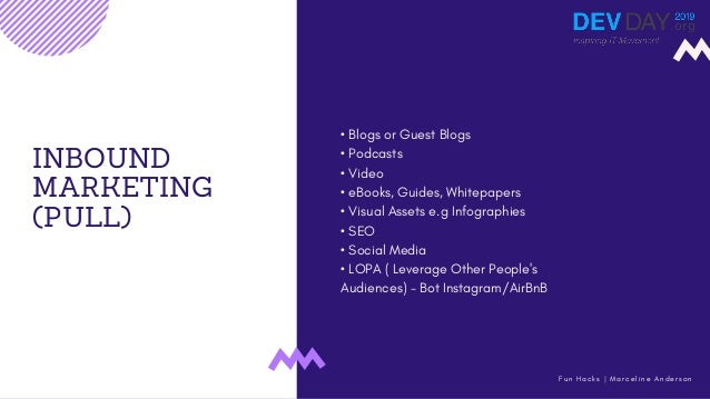 INBOUND MARKETING (PULL) • Blogs or Guest Blogs • Podcasts • Video • eBooks, Guides, Whitepapers • Visual Assets e.g Infog...