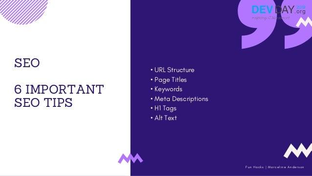 FINAL WORDS V E R N O N H O W A R D SEO 6 IMPORTANT SEO TIPS • URL Structure • Page Titles • Keywords • Meta Descriptions ...
