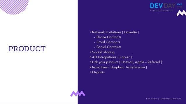 PRODUCT • Network Invitations ( Linkedin ) - Phone Contacts - Email Contacts - Social Contacts • Social Sharing • API Inte...