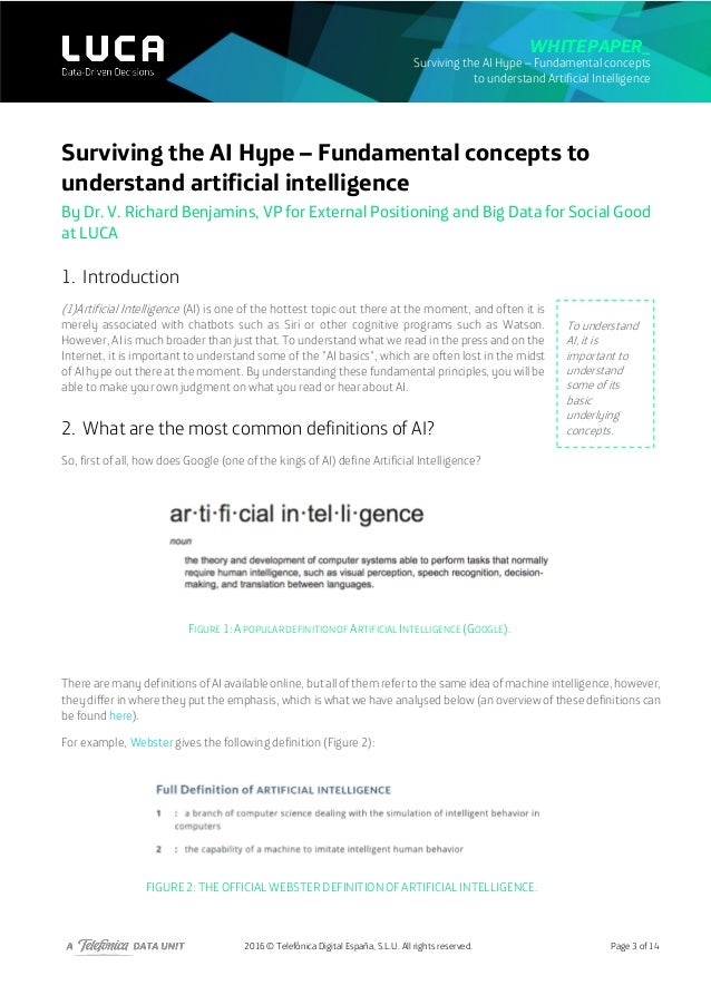 2016 © Telefónica Digital España, S.L.U. All rights reserved. Whitepaper_ Surviving the AI Hype – Fundamental concepts to ...
