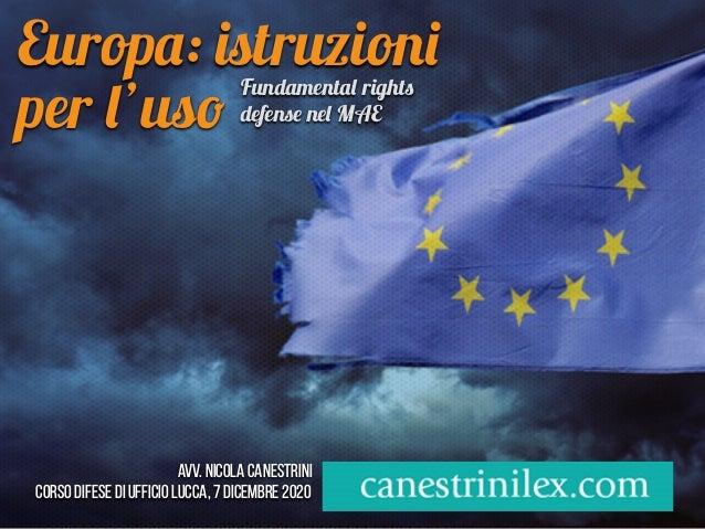 Europ a : is truzion i per l 'us o  Avv. Nicola Canestrini   corso difese di ufficio LUCCA, 7 dicembre 2020 Fundamenta l r...