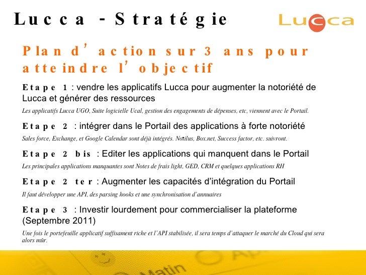 Lucca - Stratégie Plan d'action sur 3 ans pour atteindre l'objectif Etape 1  : vendre les applicatifs Lucca pour augmenter...