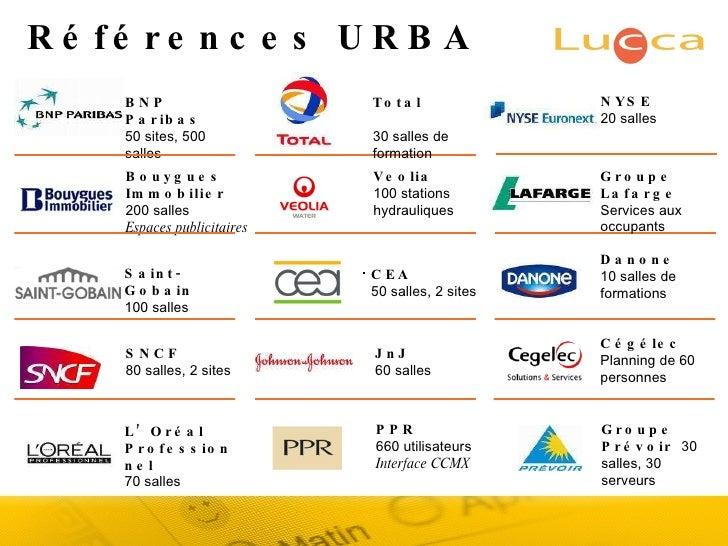 Références URBA BNP Paribas 50 sites, 500 salles Bouygues Immobilier  200 salles Espaces publicitaires Saint-Gobain  100 s...