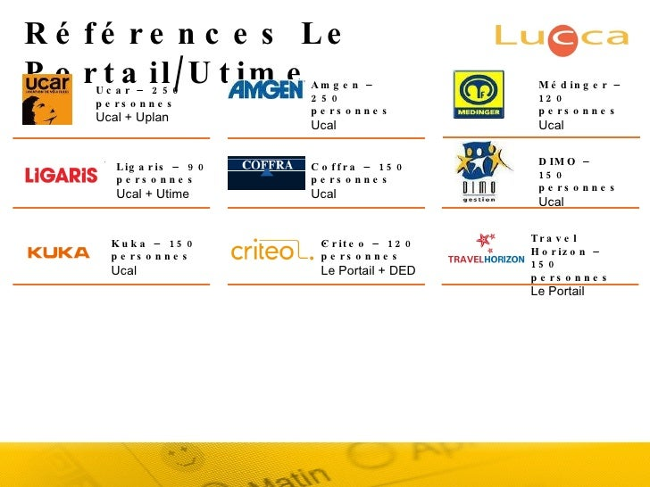 Références Le Portail/Utime Ucar – 250 personnes Ucal + Uplan Amgen –  250 personnes Ucal Ligaris – 90 personnes Ucal + Ut...