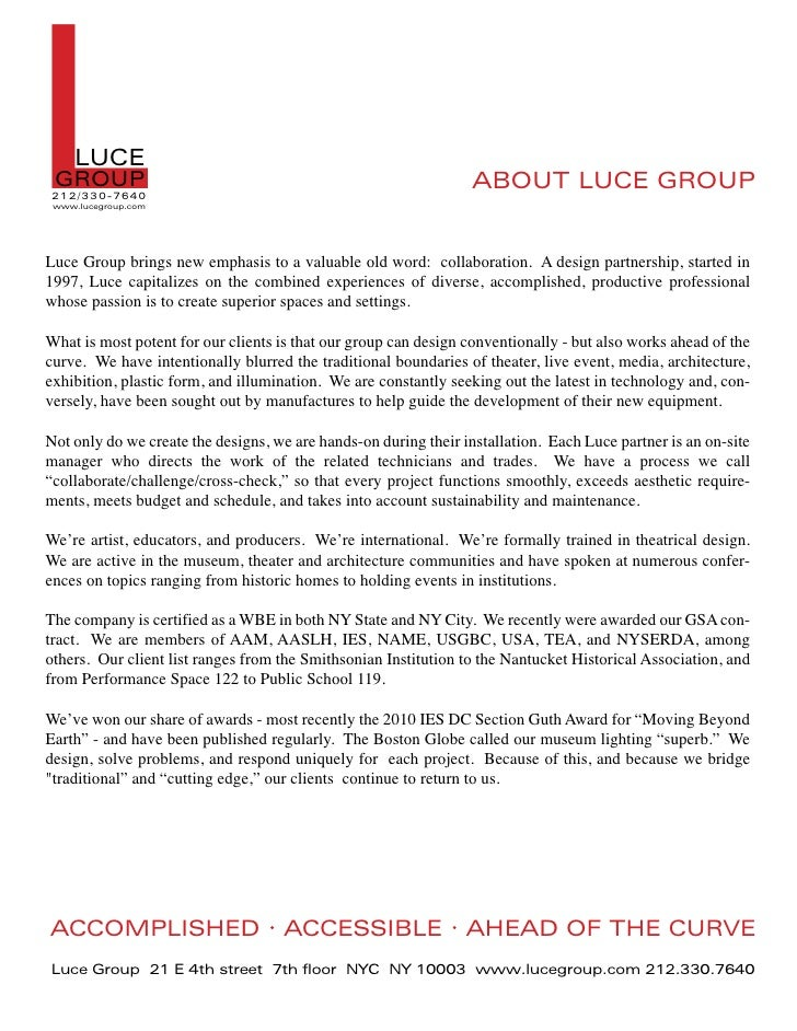 L   LUCE GROUP212/ 330-7640 www.lucegroup.com                                                                  ABOUT LUCE ...