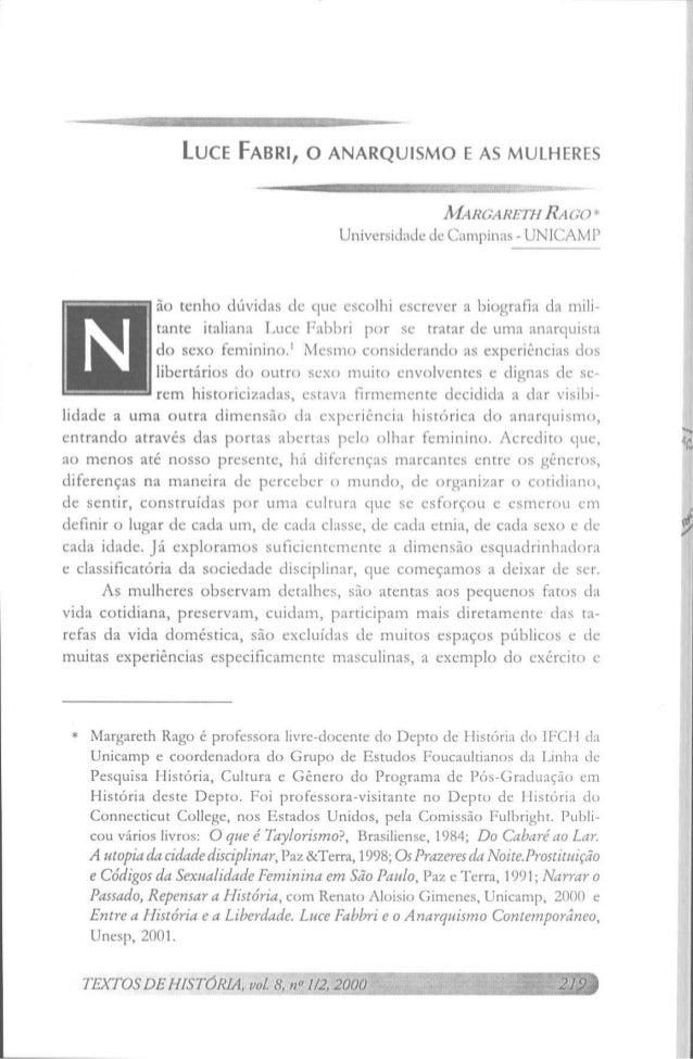 LUCE FABRI, O ANARQUISMO E AS MULHERES                                                        MARGARETH RAGO *            ...