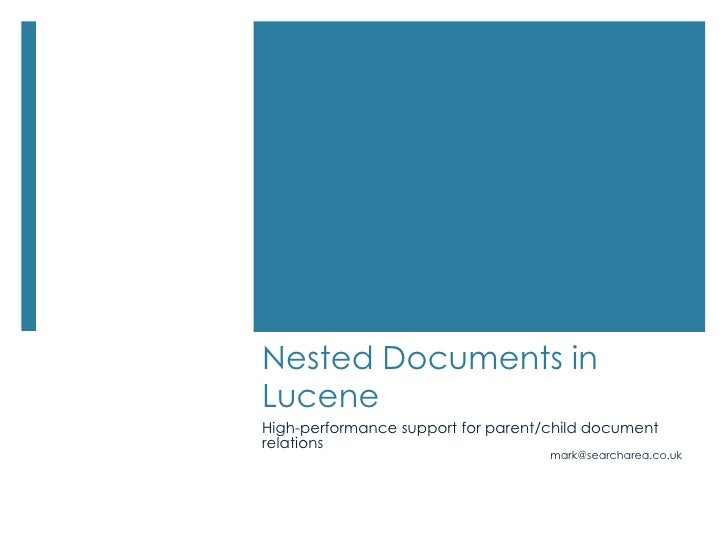 Nested Documents in Lucene<br />High-performance support for parent/child document relations<br />mark@searcharea.co.uk<br />