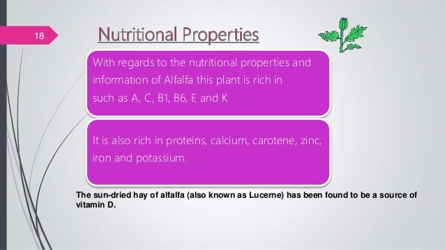 With regards to the nutritional properties and information of Alfalfa this plant is rich in such as A, C, B1, B6, E and K ...