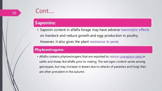 Cont…. Saponins: • Saponin content in alfalfa forage may have adverse haemolytic effects on livestock and reduce growth an...