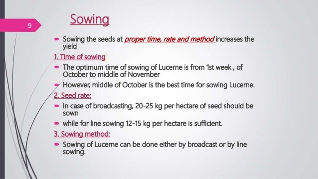 Sowing  Sowing the seeds at proper time, rate and method increases the yield 1. Time of sowing:  The optimum time of sow...