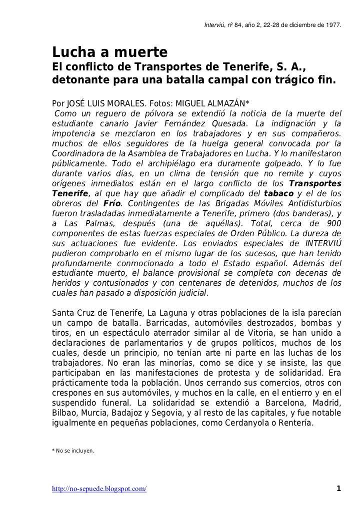 Interviú, nº 84, año 2, 22-28 de diciembre de 1977.Lucha a muerteEl conflicto de Transportes de Tenerife, S. A.,detonante ...