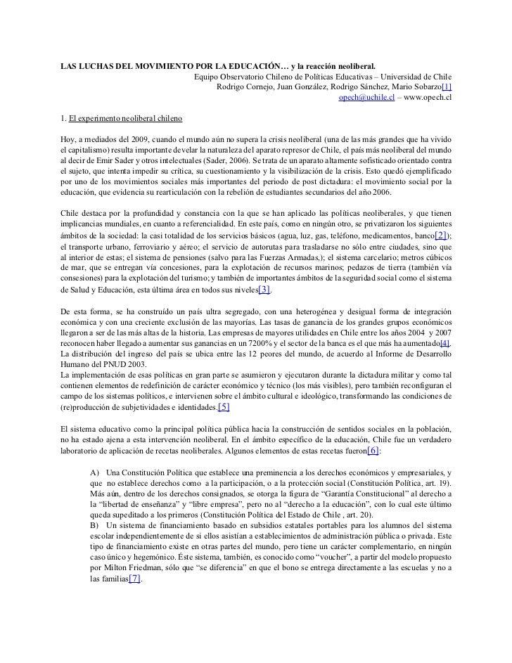 LAS LUCHAS DEL MOVIMIENTO POR LA EDUCACIÓN… y la reacción neoliberal.                         Equipo Observatorio Chileno ...