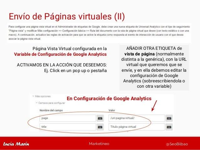 Marketineo @SeoBilbao Página Vista Virtual configurada en la Variable de Configuración de Google Analytics ACTIVAMOS EN LA...