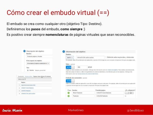 Marketineo @SeoBilbao Cómo crear el embudo virtual (==) El embudo se crea como cualquier otro (objetivo Tipo: Destino). De...
