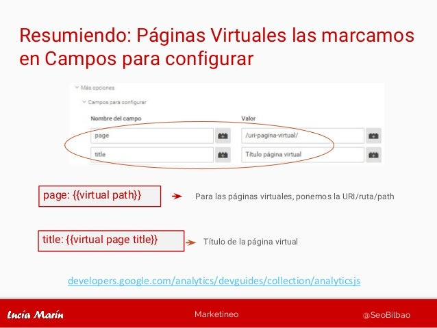 Marketineo @SeoBilbao developers.google.com/analytics/devguides/collection/analyticsjs page: {{virtual path}} Para las pág...