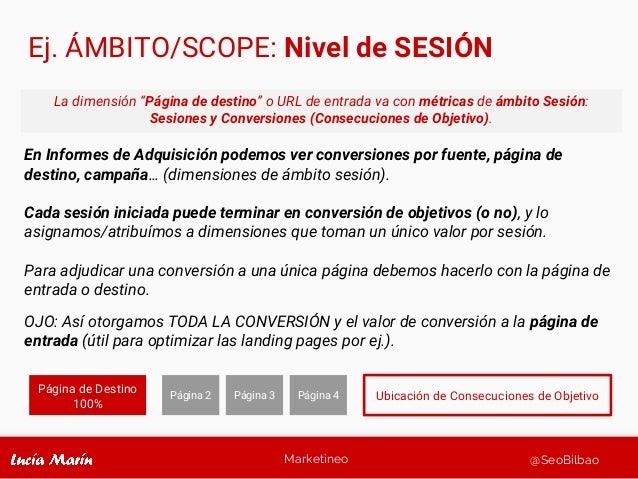 Marketineo @SeoBilbao Ej. ÁMBITO/SCOPE: Nivel de SESIÓN En Informes de Adquisición podemos ver conversiones por fuente, pá...
