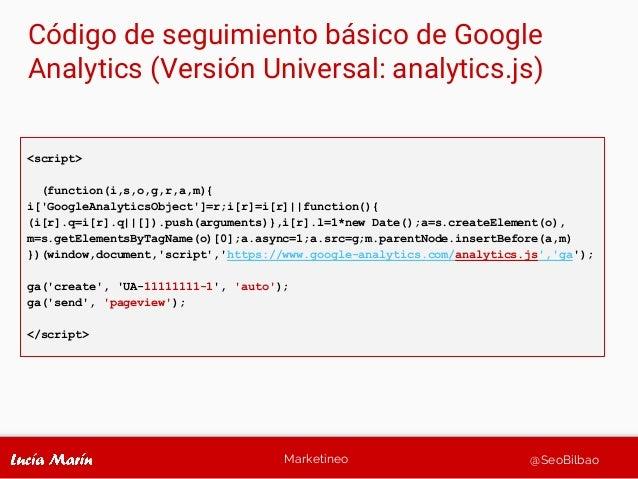 Marketineo @SeoBilbao Código de seguimiento básico de Google Analytics (Versión Universal: analytics.js) <script> (functio...
