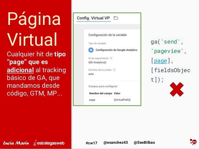 """@SeoBilbao@esanchez43#cw17 Página Virtual Cualquier hit de tipo """"page"""" que es adicional al tracking básico de GA, que mand..."""