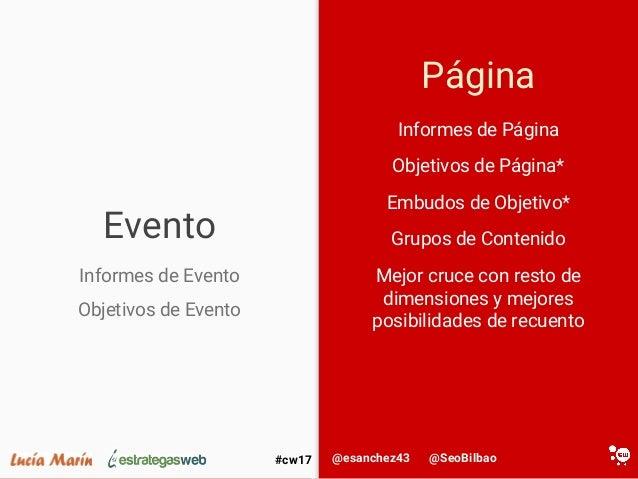 @SeoBilbao@esanchez43#cw17 Evento Página Informes de Página Objetivos de Página* Embudos de Objetivo* Grupos de Contenido ...