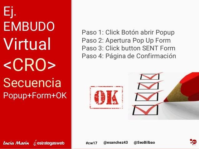 @SeoBilbao@esanchez43#cw17 Ej. EMBUDO Virtual <CRO> Secuencia Popup+Form+OK Paso 1: Click Botón abrir Popup Paso 2: Apertu...