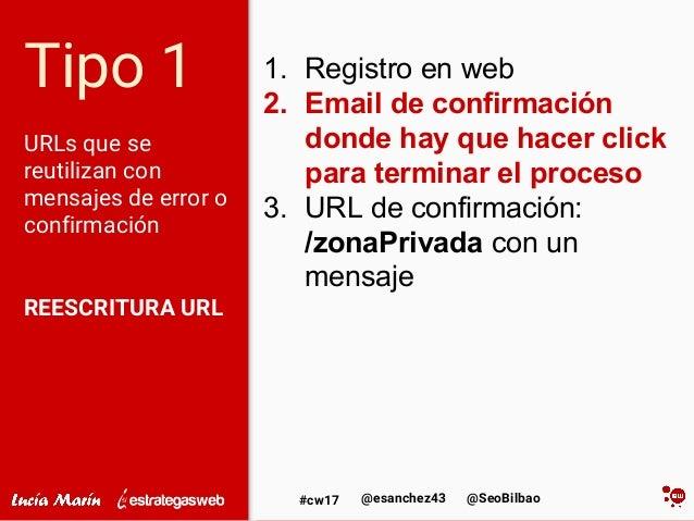 @SeoBilbao@esanchez43#cw17 Tipo 1 URLs que se reutilizan con mensajes de error o confirmación REESCRITURA URL 1. Registro ...