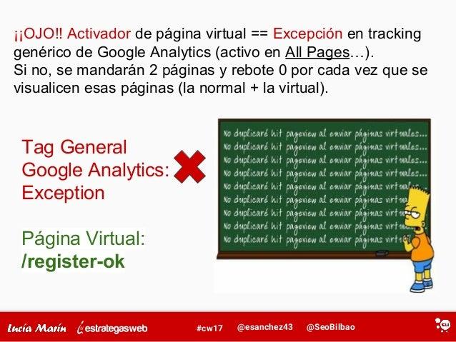 @SeoBilbao@esanchez43#cw17 Tag General Google Analytics: Exception Página Virtual: /register-ok ¡¡OJO!! Activador de págin...