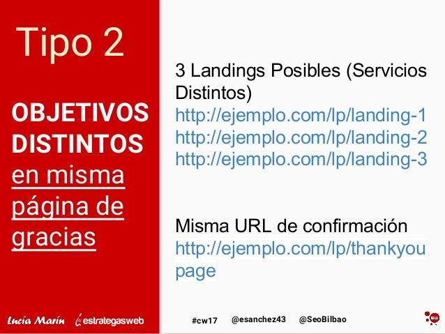 @SeoBilbao@esanchez43#cw17 OBJETIVOS DISTINTOS en misma página de gracias 3 Landings Posibles (Servicios Distintos) http:/...