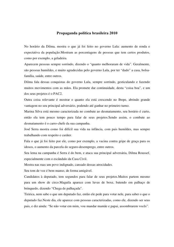 Propaganda política brasileira 2010   No horário da Dilma, mostra o que já foi feito no governo Lula: aumento de renda e e...