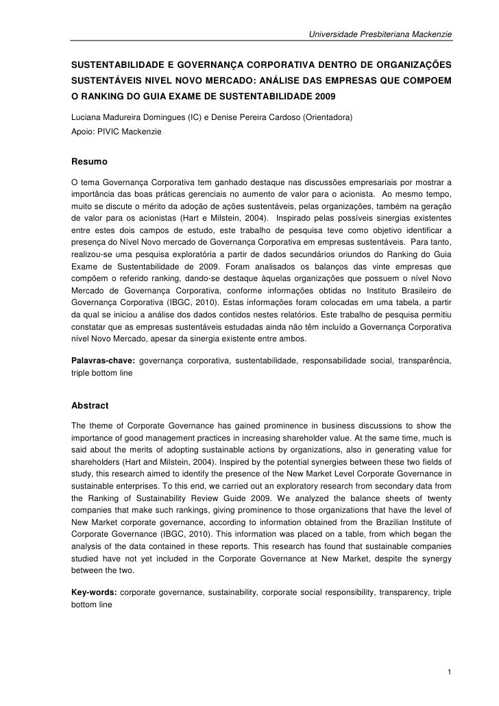 Universidade Presbiteriana MackenzieSUSTENTABILIDADE E GOVERNANÇA CORPORATIVA DENTRO DE ORGANIZAÇÕESSUSTENTÁVEIS NIVEL NOV...