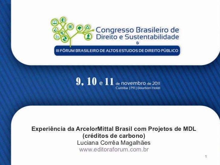 Experiência da ArcelorMittal Brasil com Projetos de MDL  (créditos de carbono)  Luciana Corrêa Magalhães www.editoraforum....
