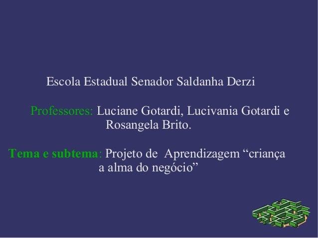 EscolaEstadualSenadorSaldanhaDerzi Professores: Luciane Gotardi, Lucivania Gotardi e Rosangela Brito. Tema e subtema: ...
