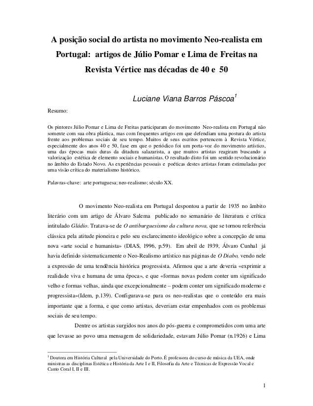 1 A posição social do artista no movimento Neo-realista em Portugal: artigos de Júlio Pomar e Lima de Freitas na Revista V...
