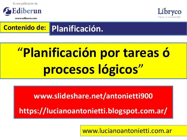 """www.lucianoantonietti.com.ar """"Planificación por tareas ó procesos lógicos"""" Contenido de: Planificación. www.slideshare.net..."""