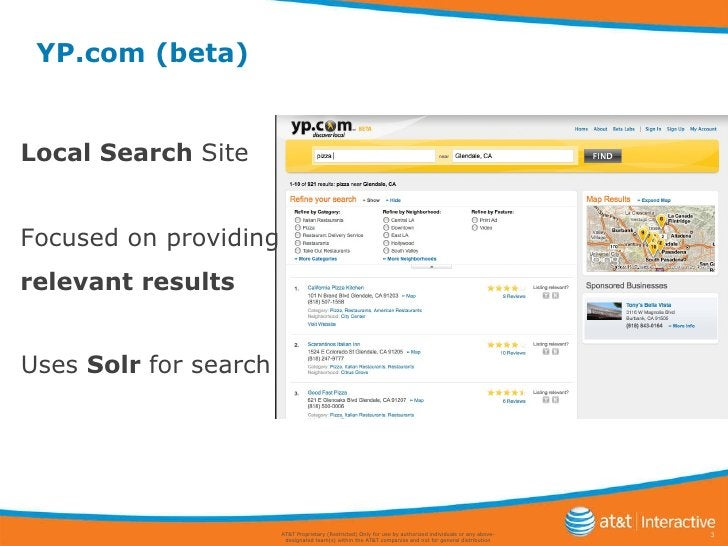 YP.com (beta) AT&T Proprietary (Restricted) Only for use by authorized individuals or any above-designated team(s) within ...