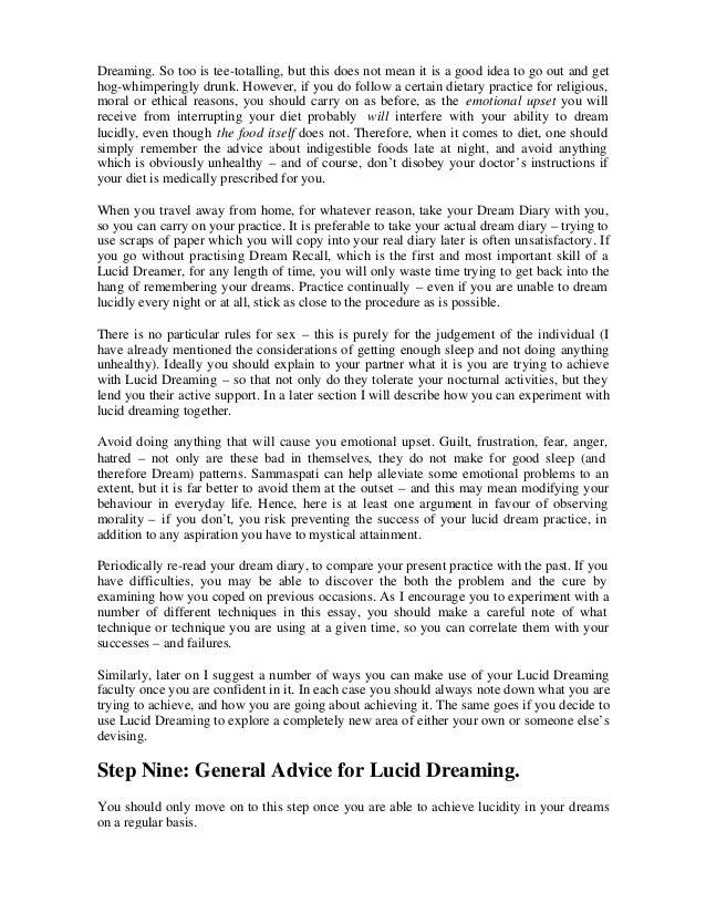 lucid dreaming essay Research essay sample on time life books lucid dream custom essay writing  nightmares nightmare dream treatment.