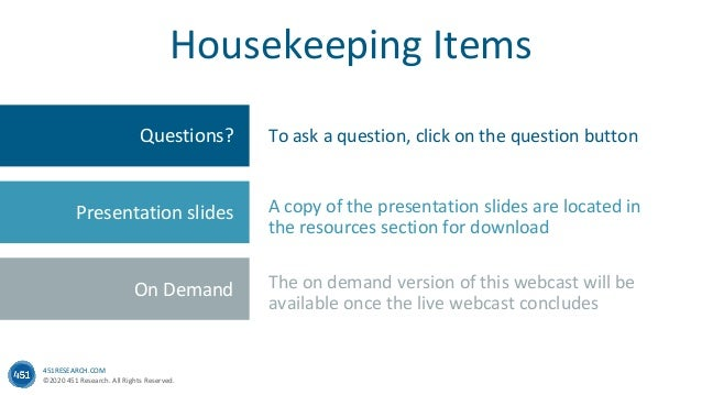 451RESEARCH.COM ©2020 451 Research. All Rights Reserved. Questions? Presentation Slides Feedback Housekeeping Items Questi...