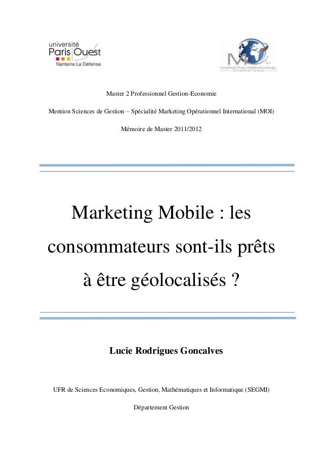 Master 2 Professionnel Gestion-EconomieMention Sciences de Gestion – Spécialité Marketing Opérationnel International (MOI)...