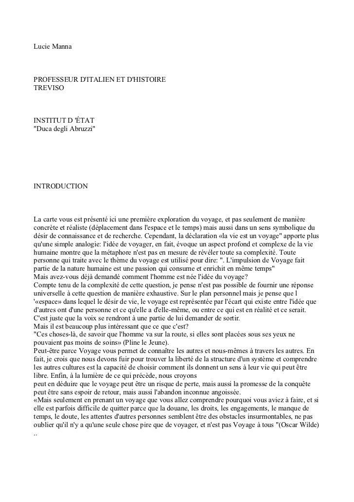 """Lucie MannaPROFESSEUR DITALIEN ET DHISTOIRETREVISOINSTITUT D ÉTAT""""Duca degli Abruzzi""""INTRODUCTIONLa carte vous est présent..."""