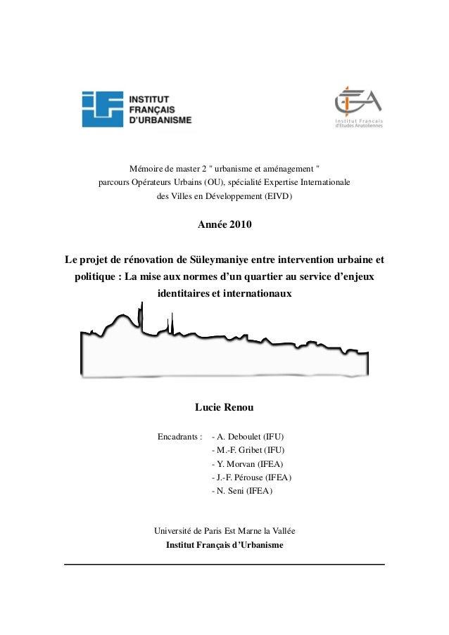 """Mémoire de master 2 """" urbanisme et aménagement """" parcours Opérateurs Urbains (OU), spécialité Expertise Internationale des..."""
