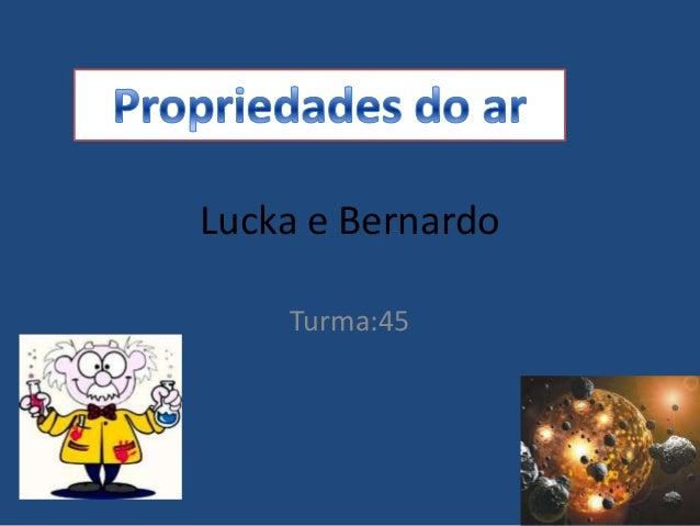 Lucka e Bernardo    Turma:45
