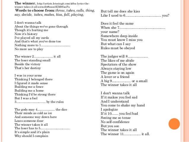 Winner take it all lyrics