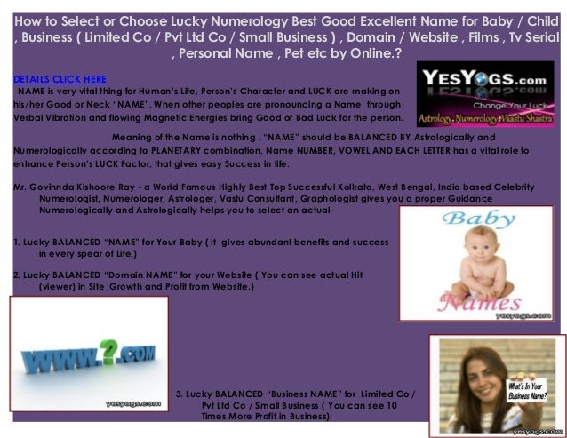 Lucky Name Numerology for Baby ,Numerologist (Boy or Girl), Company p…