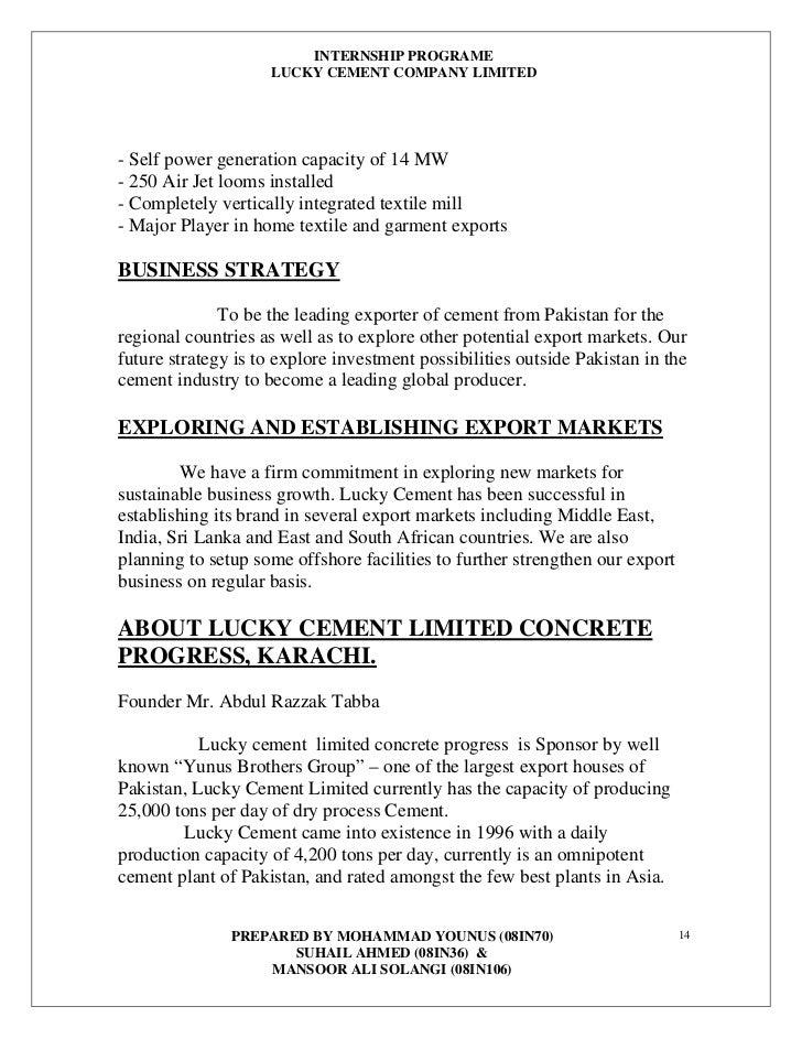 Internship report of DANDOT Cement company