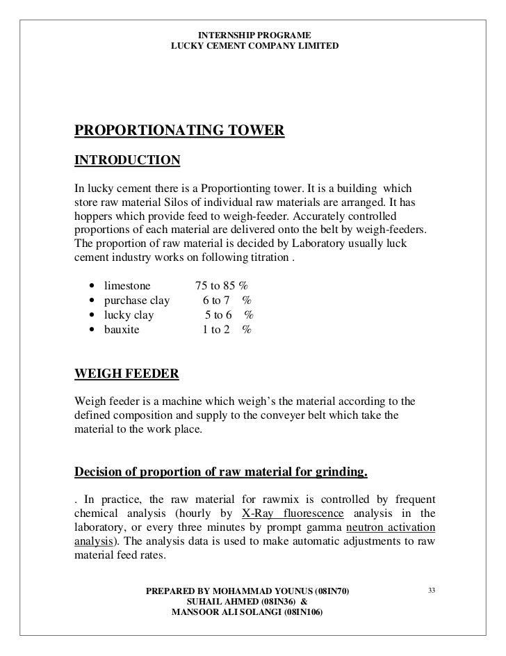 internship report on dandott cement factory Essay about internship report on dandott cement factory , internship report on dandott cement factory , electrical department: 49 , practical training report program:.