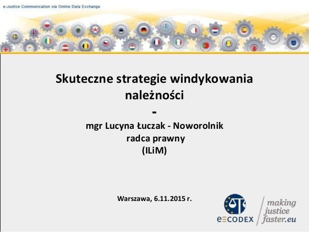 Skuteczne strategie windykowania należności - mgr Lucyna Łuczak - Noworolnik radca prawny (ILiM) Warszawa, 6.11.2015 r.