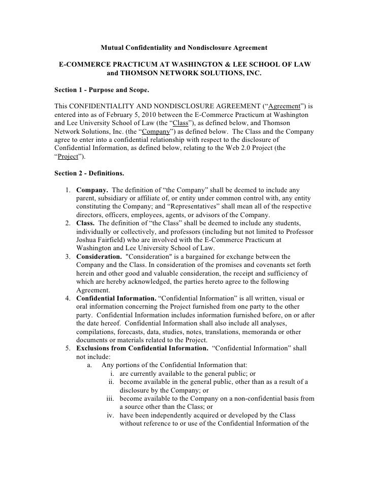 Mutual Confidentiality and Nondisclosure Agreement   E-COMMERCE PRACTICUM AT WASHINGTON & LEE SCHOOL OF LAW           and ...