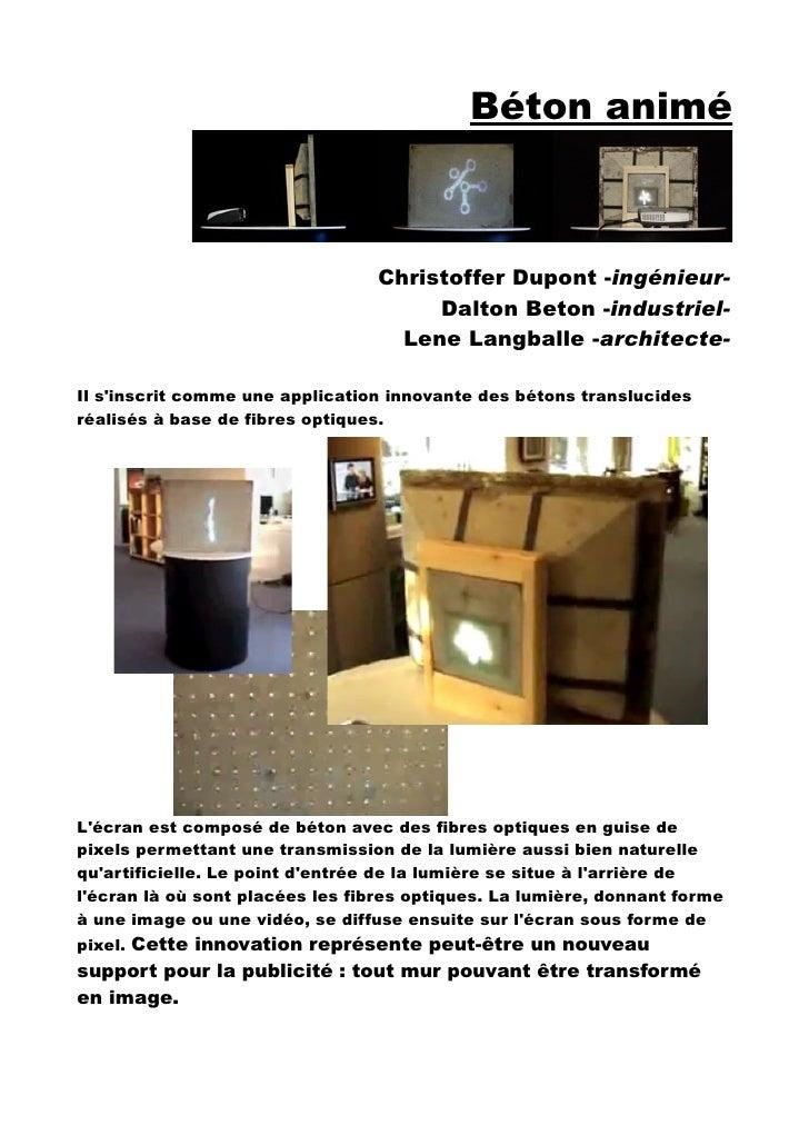 Béton animé                                     Christoffer Dupont -ingénieur-                                       Dalto...