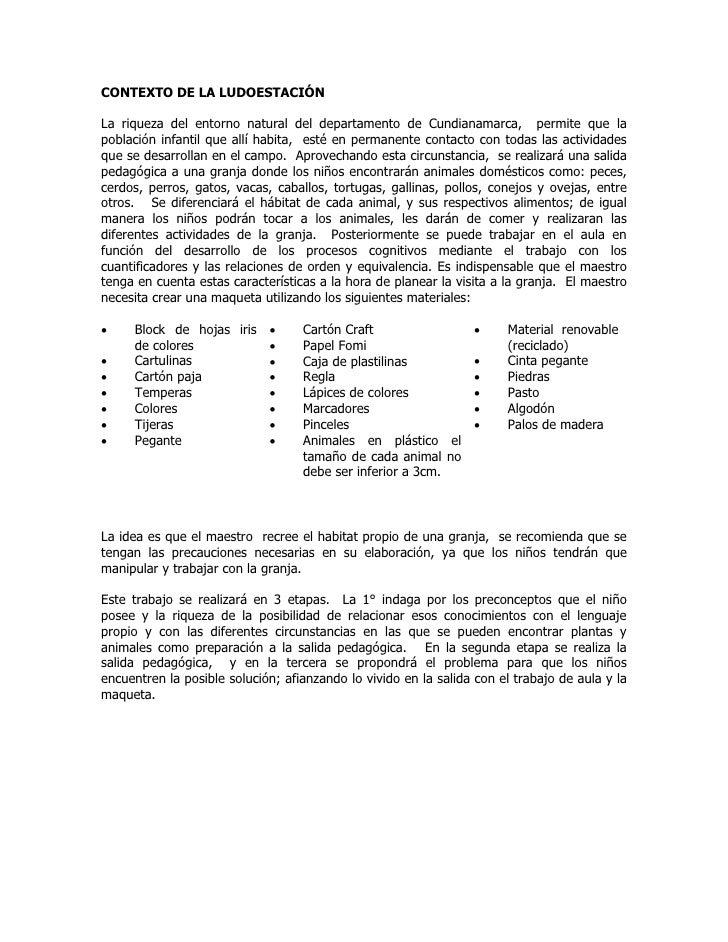 CONTEXTO DE LA LUDOESTACIÓNLa riqueza del entorno natural del departamento de Cundianamarca, permite que lapoblación infan...